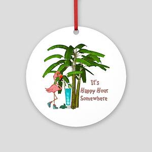 It's Happy Hour Somewhere Round Ornament