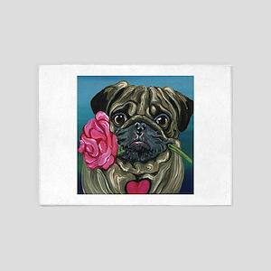 Pug Valentine 5'x7'Area Rug