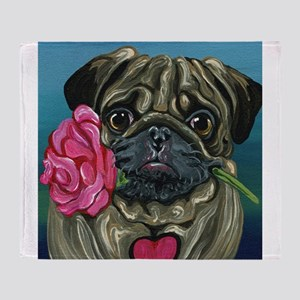 Pug Valentine Throw Blanket