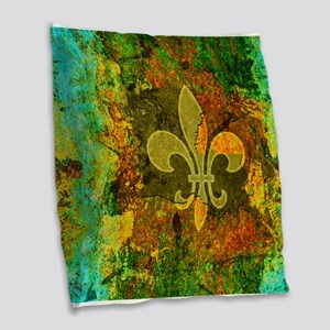 Louisiana Rustic Fleur de lis Burlap Throw Pillow