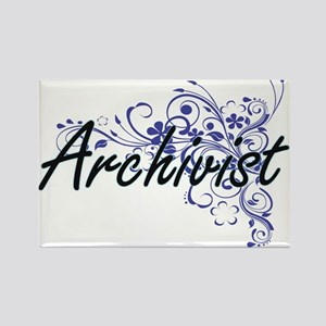 Archivist Artistic Job Design with Flowers Magnets