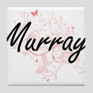Murray surname artistic design with B Tile Coaster