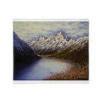 Mountain lake winter Throw Blanket