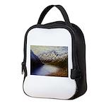Mountain lake winter Neoprene Lunch Bag
