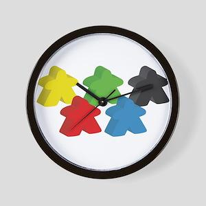 set of five meeples Wall Clock