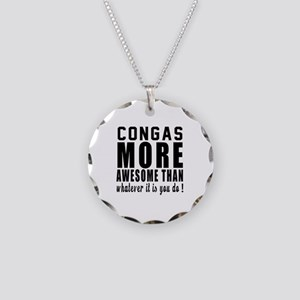 Congas More Awesome Instrume Necklace Circle Charm