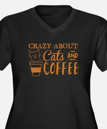 Crazy about cats and coffee Plus Size T-Shirt