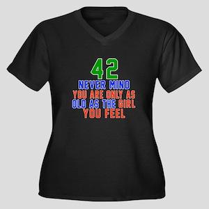 42 Never Min Women's Plus Size V-Neck Dark T-Shirt