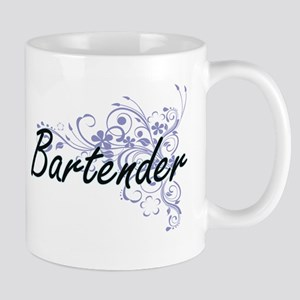 Bartender Artistic Job Design with Flowers Mugs