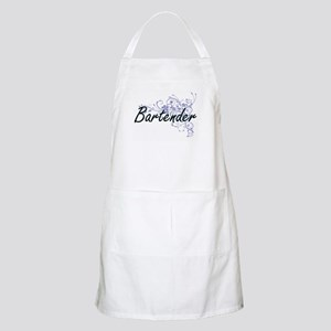 Bartender Artistic Job Design with Flowers Apron