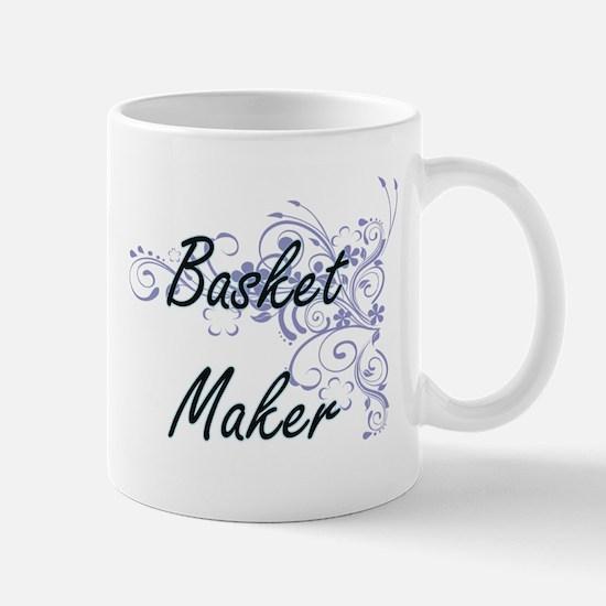 Basket Maker Artistic Job Design with Flowers Mugs