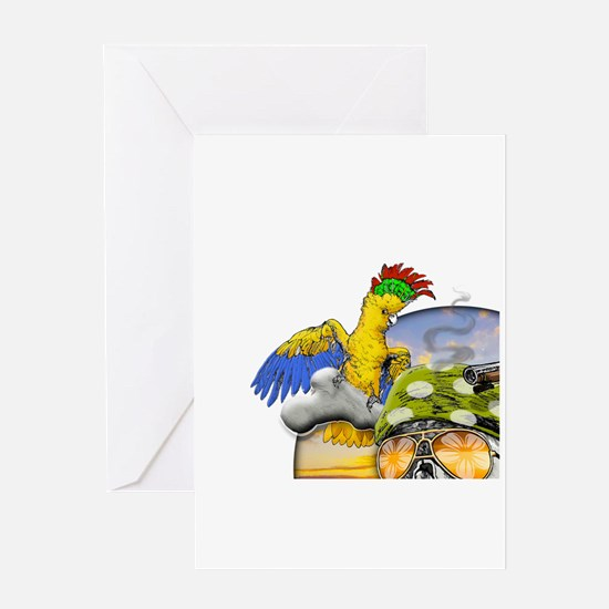 Parrot Beach Chair Greeting Cards