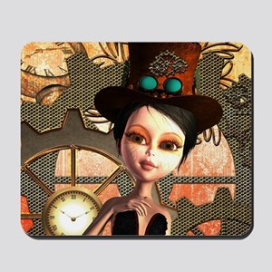 Steampunk, cute girl Mousepad