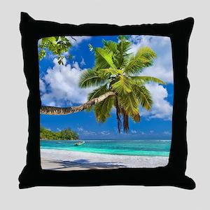 Tropical Beach Throw Pillow