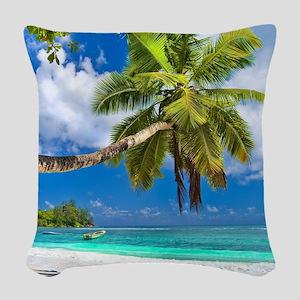 Tropical Beach Woven Throw Pillow