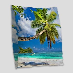 Tropical Beach Burlap Throw Pillow