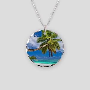 Tropical Beach Necklace Circle Charm