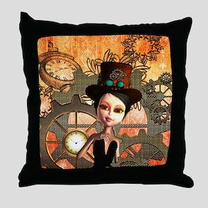 Steampunk, cute girl Throw Pillow