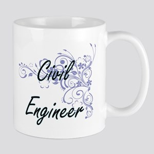 Civil Engineer Artistic Job Design with Flowe Mugs