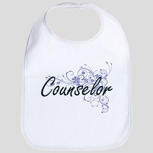 Counselor Artistic Job Design with Flowers Bib