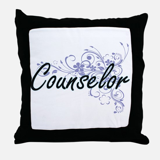 Counselor Artistic Job Design with Fl Throw Pillow