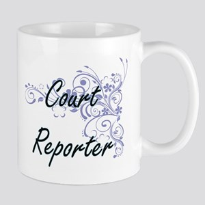Court Reporter Artistic Job Design with Flowe Mugs