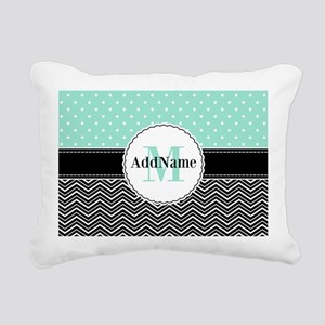 Black Teal Dots Chevron Rectangular Canvas Pillow