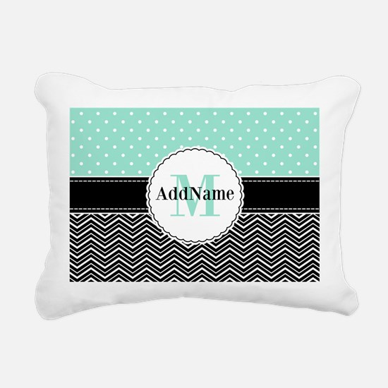 Black Teal Dots Chevron Rectangular Canvas Pillow