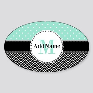 Black Teal Dots Chevron Monogram Sticker (Oval)