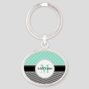 Black Teal Dots Chevron Monogram Oval Keychain