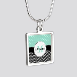 Black Teal Dots Chevron Mo Silver Square Necklace
