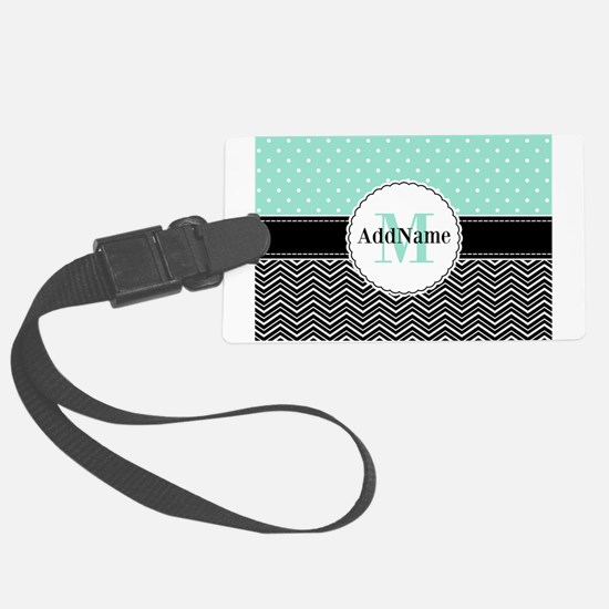 Black Teal Dots Chevron Monogram Large Luggage Tag