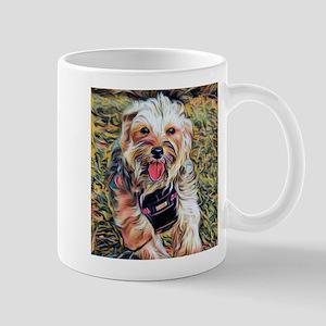 Penny the Yorkipoochi running Mugs