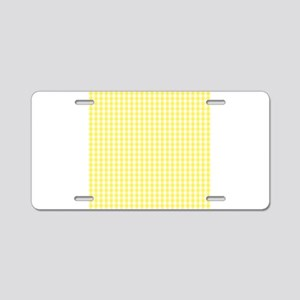 Yellow White Gingham Plaid Aluminum License Plate