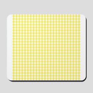 Yellow White Gingham Plaid Mousepad