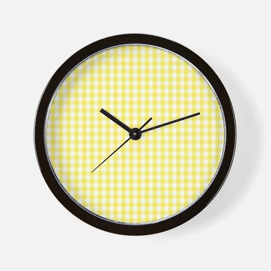 Yellow White Gingham Plaid Wall Clock