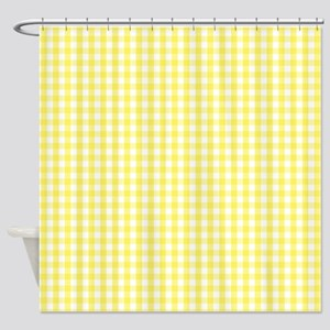 Yellow White Gingham Plaid Shower Curtain