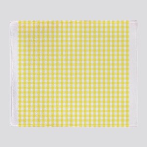 Yellow White Gingham Plaid Throw Blanket