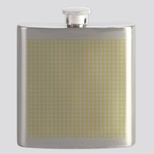 Yellow White Gingham Plaid Flask