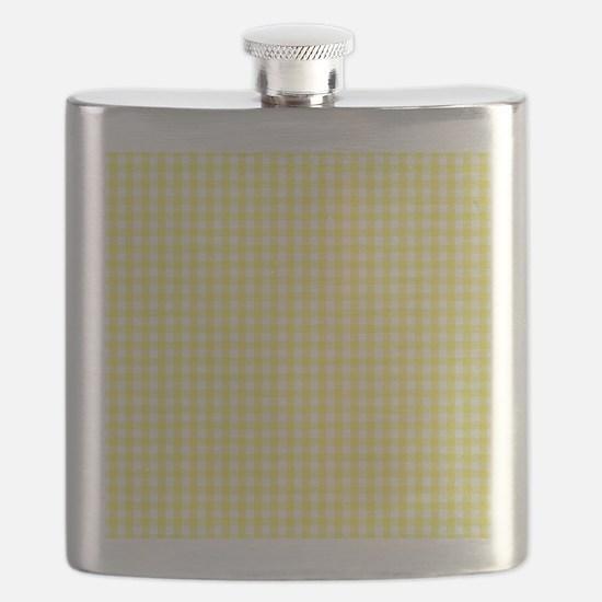 Yellow White Gingham Plaid Flask