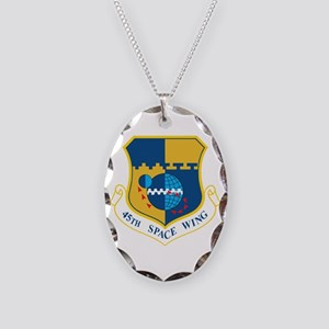 45th Space Wing Crest Necklace Oval Charm