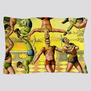 Vintage Circus Acrobatic Athletes Pillow Case