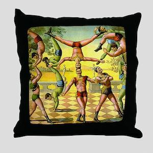 Vintage Circus Acrobatic Athletes Throw Pillow