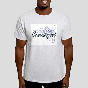 Genealogist Artistic Job Design with Flowe T-Shirt