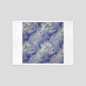 Dark Blue Mosaic Abstract Pattern 5'x7'Area Rug
