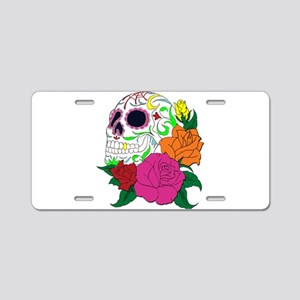Candy Skull Illustration Aluminum License Plate