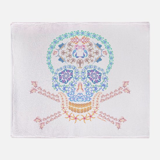 Marine Candy Skull Throw Blanket
