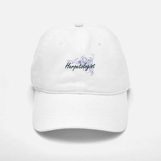 Herpetologist Artistic Job Design with Flowers Baseball Baseball Cap