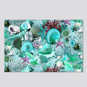 Green Seashells And starf Postcards (Package of 8)