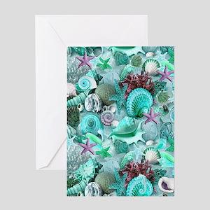 Green Seashells And starfish Greeting Cards